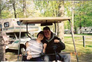 Owners Dave & Reva on golfcart